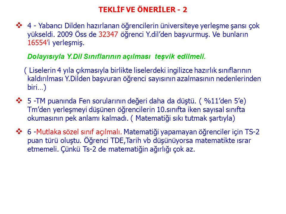TEKLİF VE ÖNERİLER - 2