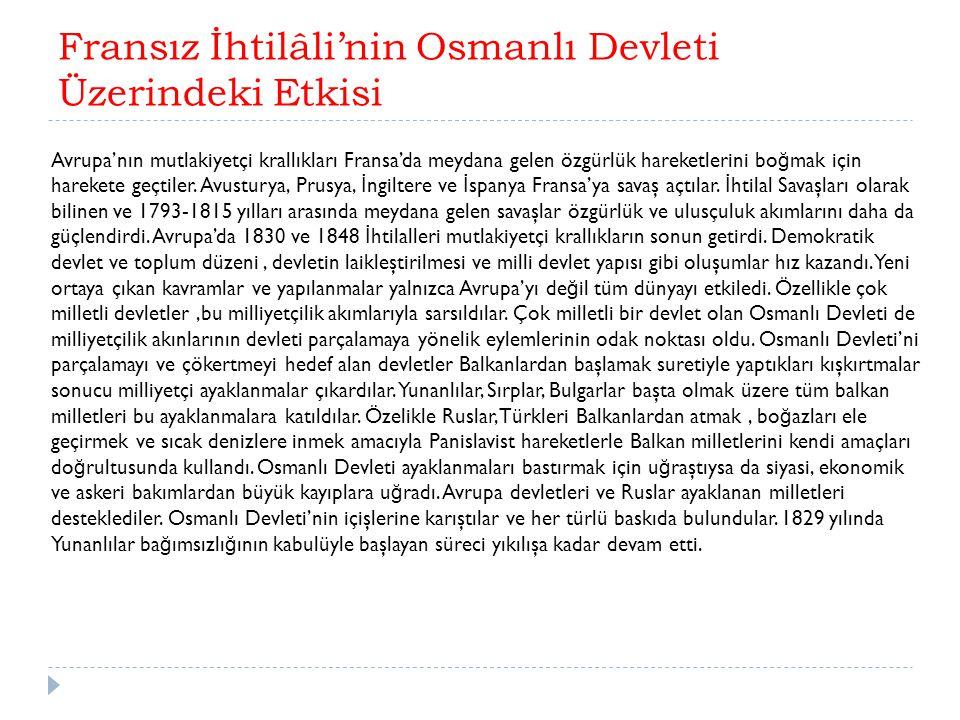 Fransız İhtilâli'nin Osmanlı Devleti Üzerindeki Etkisi