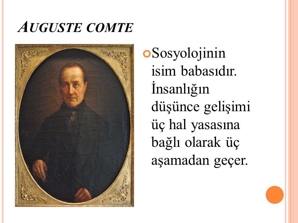 Auguste comte Sosyolojinin isim babasıdır.