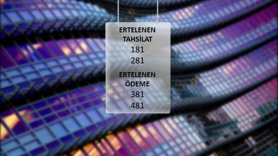 ERTELENEN TAHSİLAT 181 281 ÖDEME 381 481