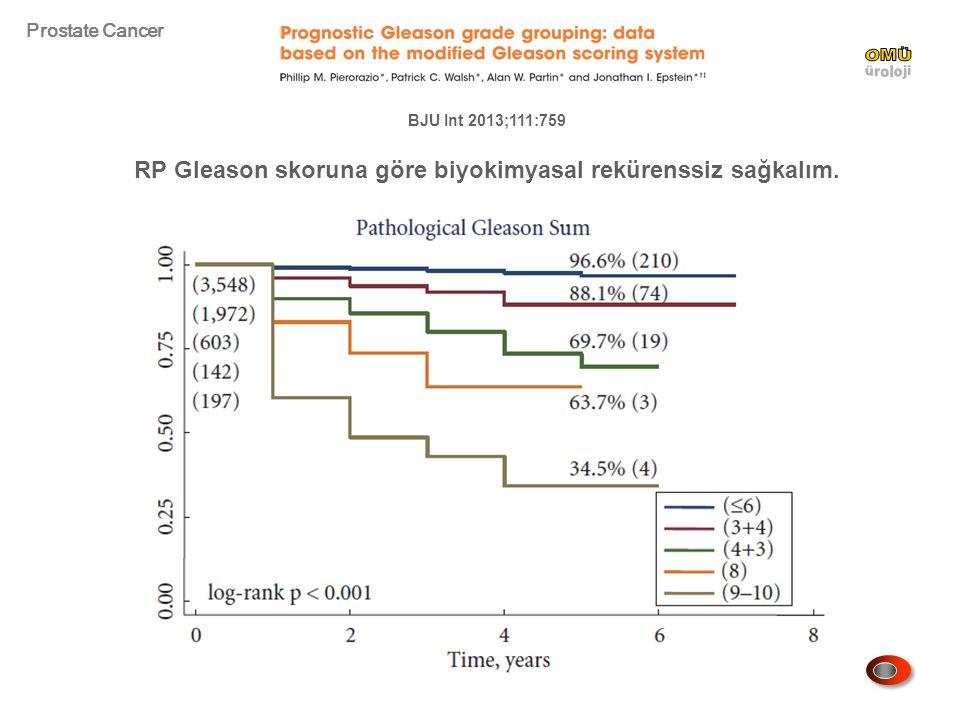 RP Gleason skoruna göre biyokimyasal rekürenssiz sağkalım.