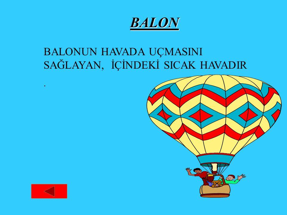 BALON BALONUN HAVADA UÇMASINI SAĞLAYAN, İÇİNDEKİ SICAK HAVADIR .