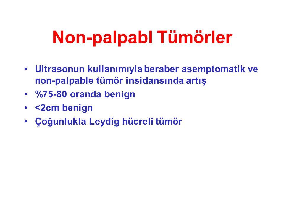 Non-palpabl Tümörler Ultrasonun kullanımıyla beraber asemptomatik ve non-palpable tümör insidansında artış.