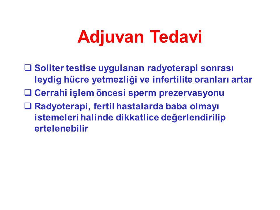 Adjuvan Tedavi Soliter testise uygulanan radyoterapi sonrası leydig hücre yetmezliği ve infertilite oranları artar.