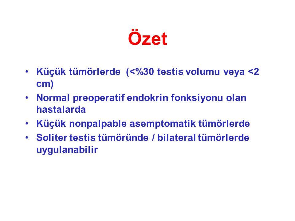 Özet Küçük tümörlerde (<%30 testis volumu veya <2 cm)