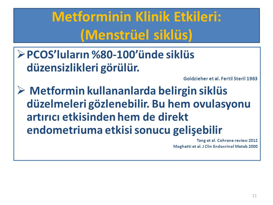 Metforminin Klinik Etkileri: (Menstrüel siklüs)