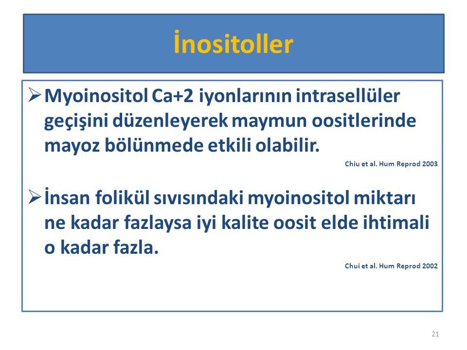İnositoller Myoinositol Ca+2 iyonlarının intrasellüler geçişini düzenleyerek maymun oositlerinde mayoz bölünmede etkili olabilir.
