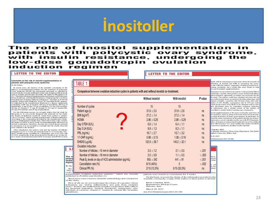 İnositoller 1. Dizyn baştan sıkıntılı. Redeskop 12 madde içeriyor. İçindeki hangi madde ovulasyona etki etti