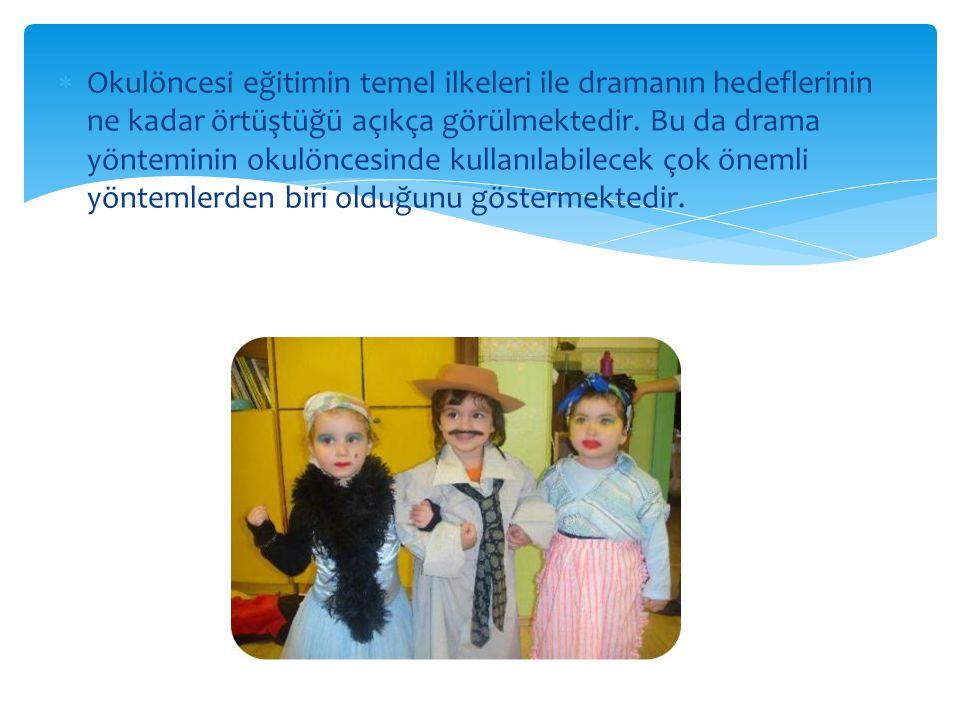 Okulöncesi eğitimin temel ilkeleri ile dramanın hedeflerinin ne kadar örtüştüğü açıkça görülmektedir.