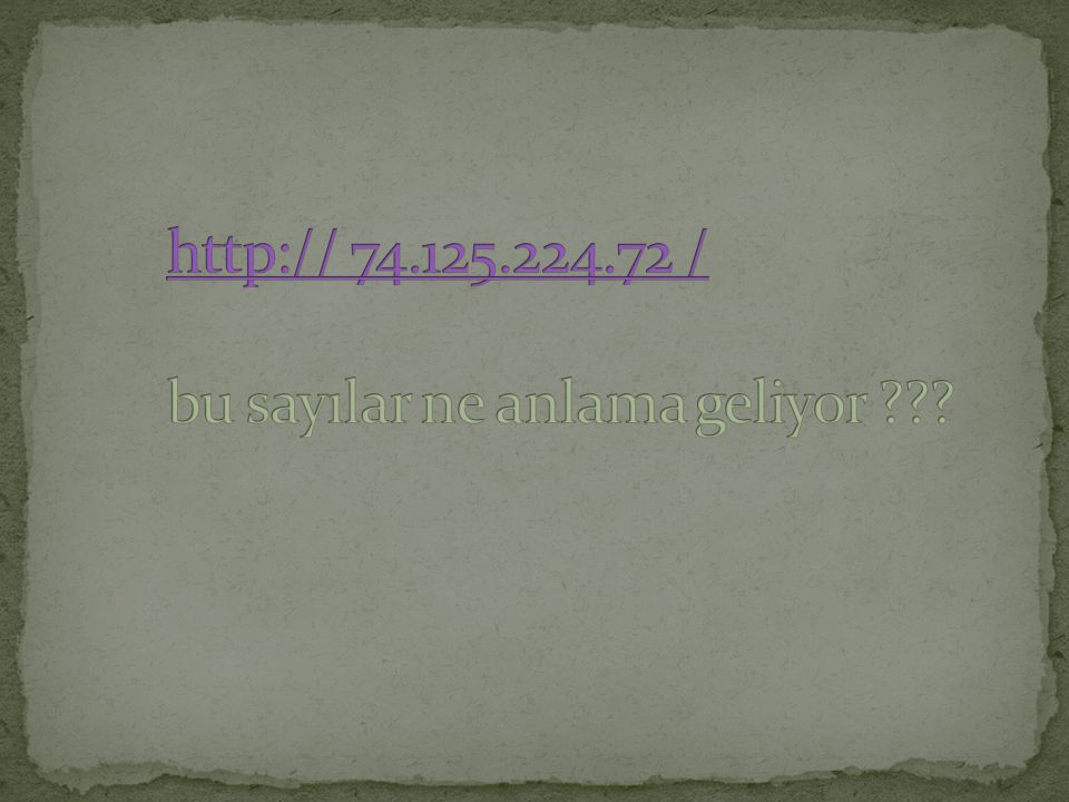 http:// 74.125.224.72 / bu sayılar ne anlama geliyor