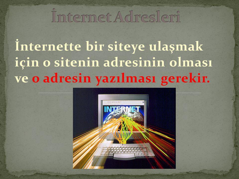 İnternet Adresleri İnternette bir siteye ulaşmak için o sitenin adresinin olması ve o adresin yazılması gerekir.