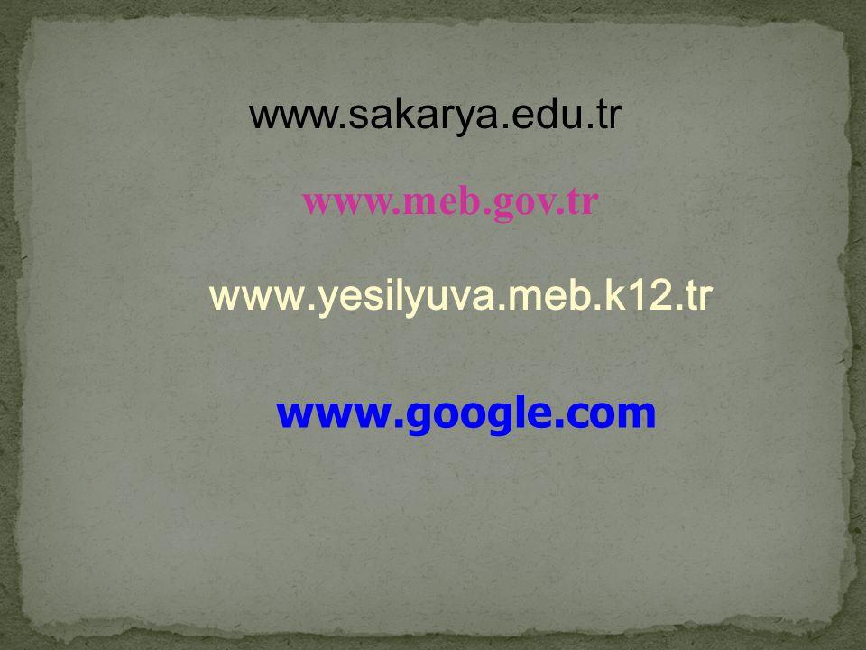 www.sakarya.edu.tr www.meb.gov.tr www.yesilyuva.meb.k12.tr www.google.com
