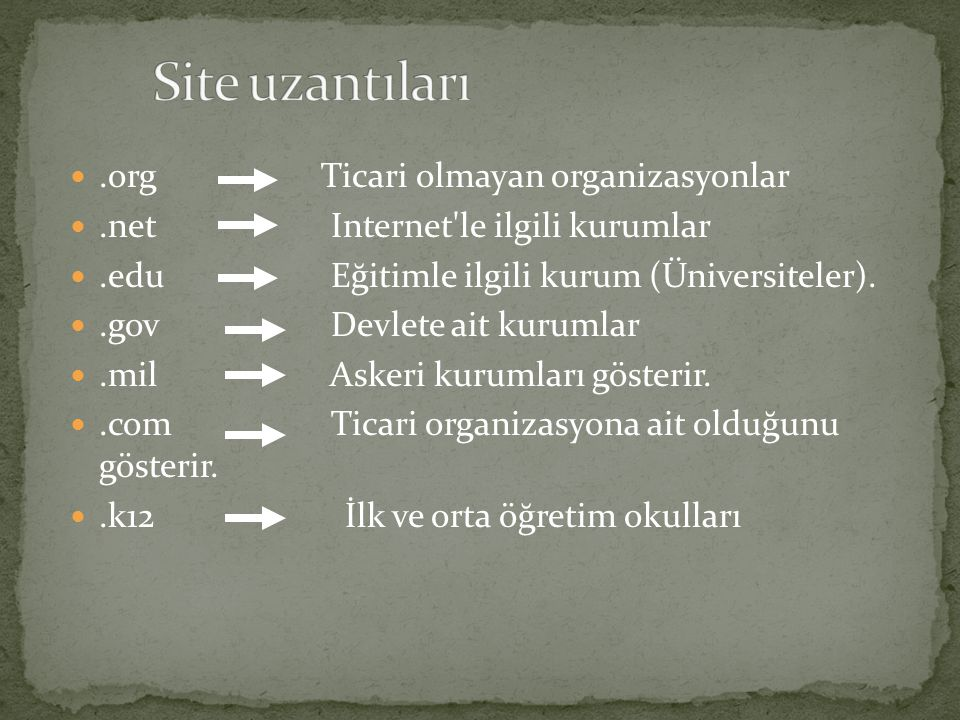 Site uzantıları .org Ticari olmayan organizasyonlar
