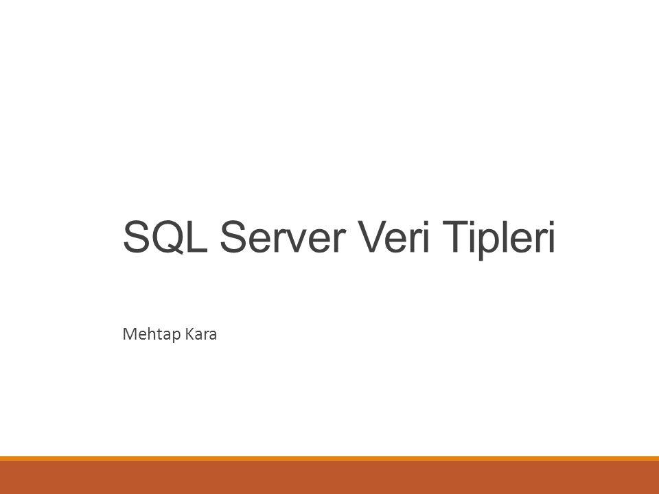 SQL Server Veri Tipleri