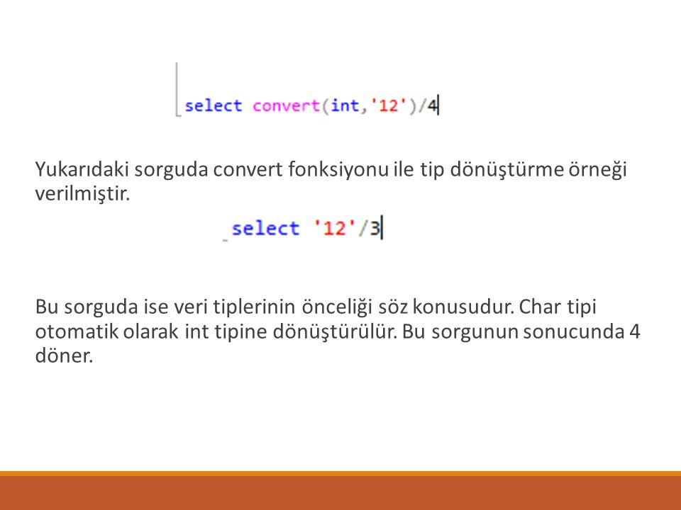 Yukarıdaki sorguda convert fonksiyonu ile tip dönüştürme örneği verilmiştir.