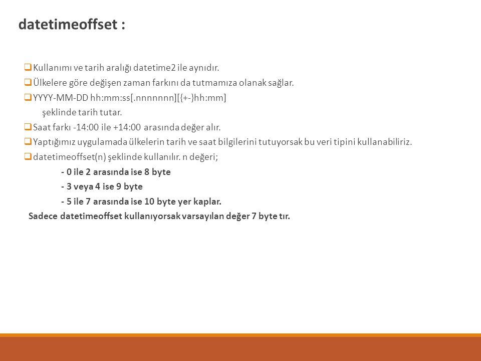datetimeoffset : Kullanımı ve tarih aralığı datetime2 ile aynıdır.
