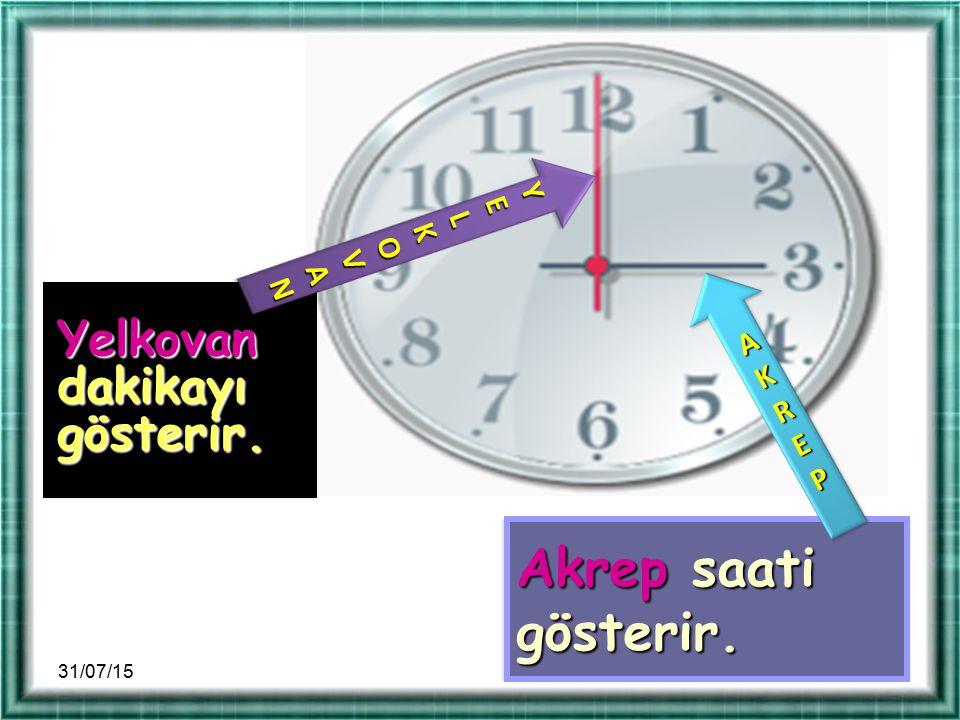 Akrep saati gösterir. Yelkovan dakikayı gösterir. Y E L K O V AN AKREP