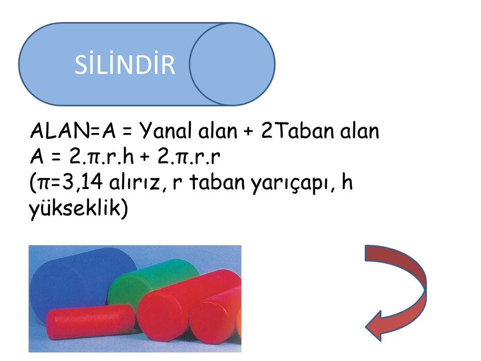SİLİNDİR ALAN=A = Yanal alan + 2Taban alan A = 2.π.r.h + 2.π.r.r (π=3,14 alırız, r taban yarıçapı, h yükseklik)