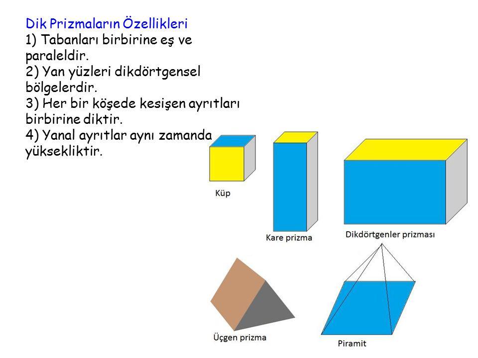 Dik Prizmaların Özellikleri 1) Tabanları birbirine eş ve paraleldir