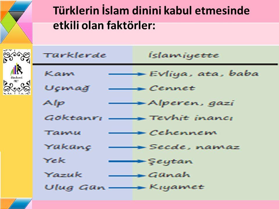 Türklerin İslam dinini kabul etmesinde etkili olan faktörler: