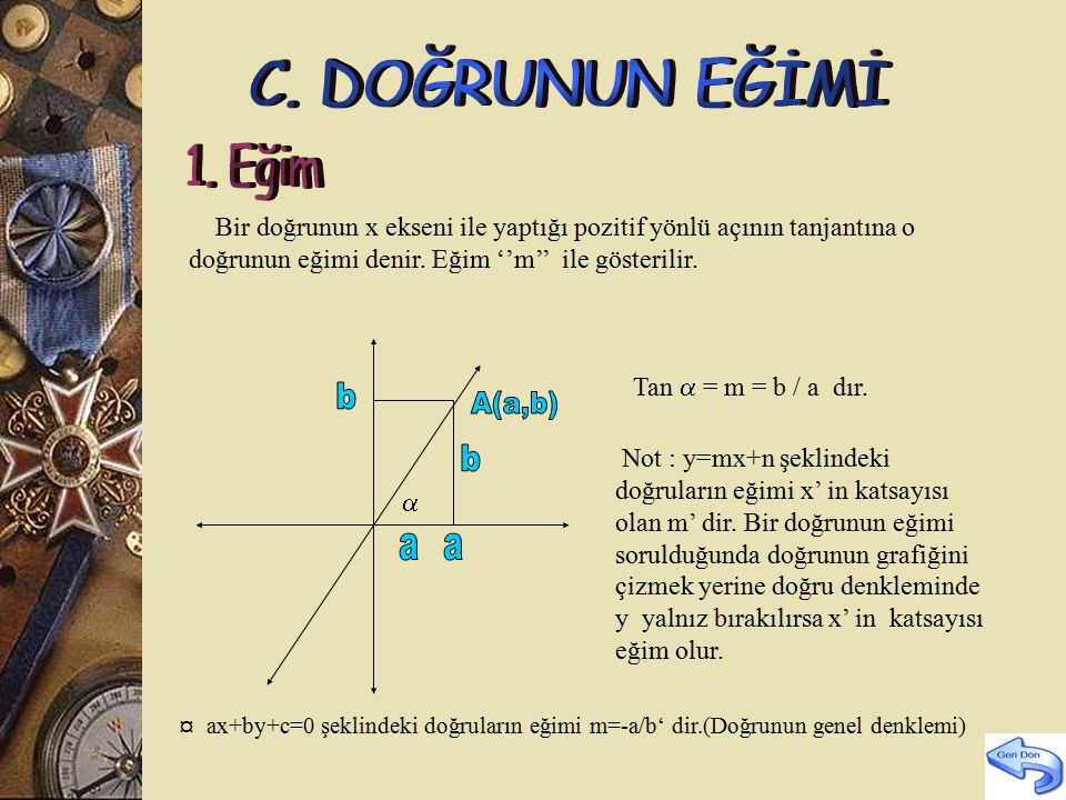 b A(a,b) b a a C. DOĞRUNUN EĞİMİ 1. Eğim