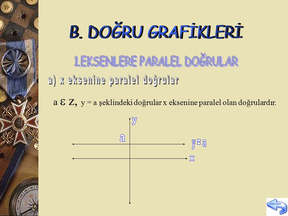 a y = a x B. DOĞRU GRAFİKLERİ 1.EKSENLERE PARALEL DOĞRULAR