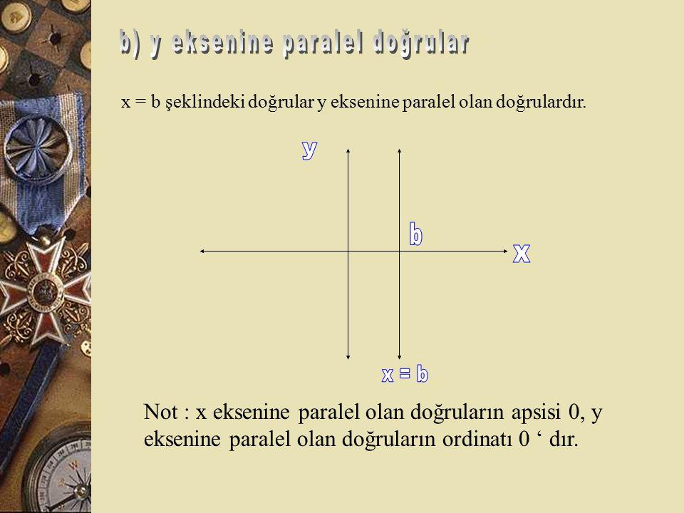 b) y eksenine paralel doğrular