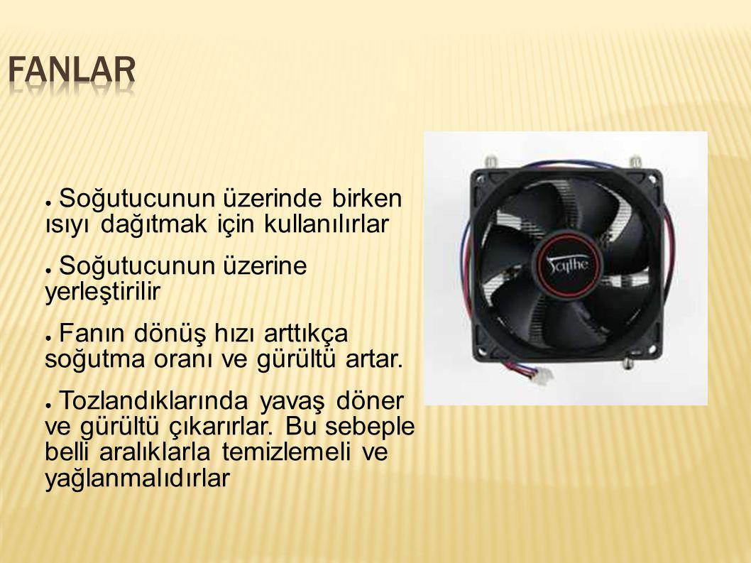 FANLAR Soğutucunun üzerinde birken ısıyı dağıtmak için kullanılırlar
