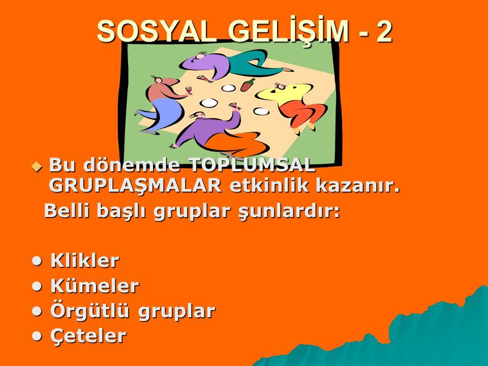 SOSYAL GELİŞİM - 2 Bu dönemde TOPLUMSAL GRUPLAŞMALAR etkinlik kazanır.