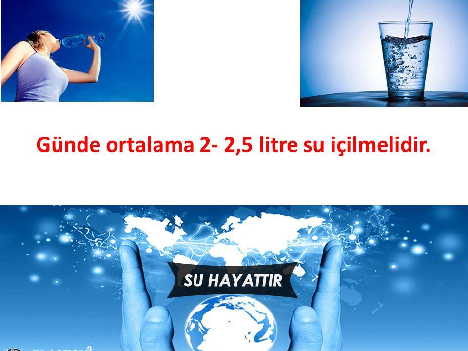 Günde ortalama 2- 2,5 litre su içilmelidir.