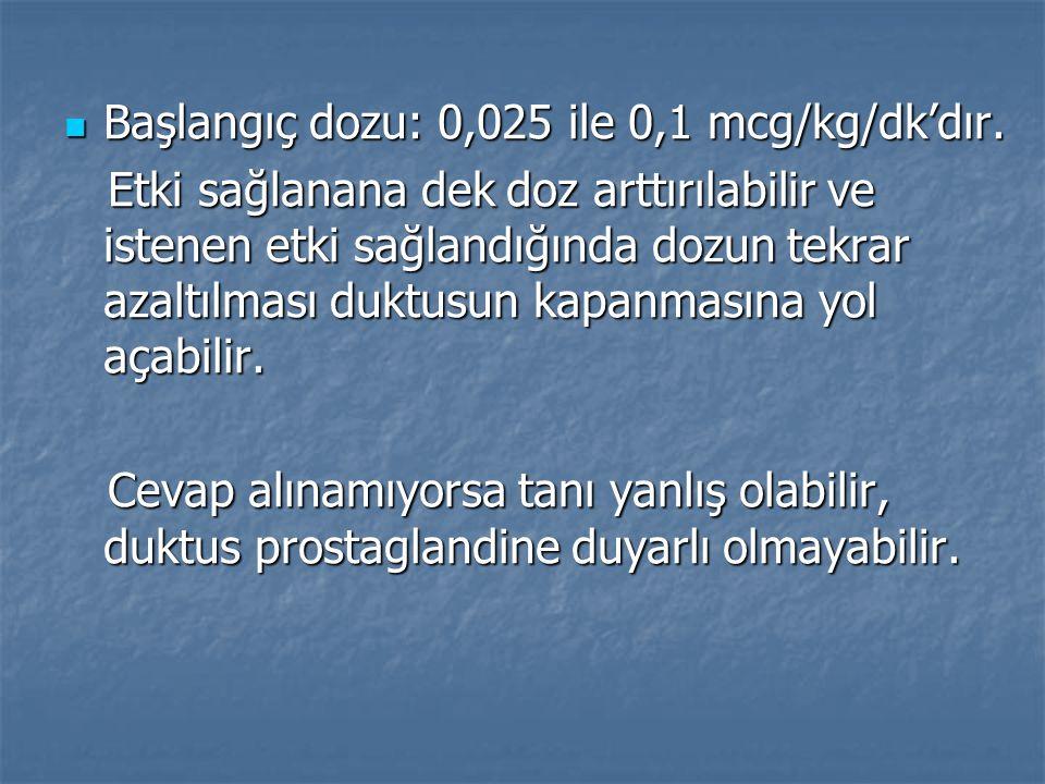 Başlangıç dozu: 0,025 ile 0,1 mcg/kg/dk'dır.