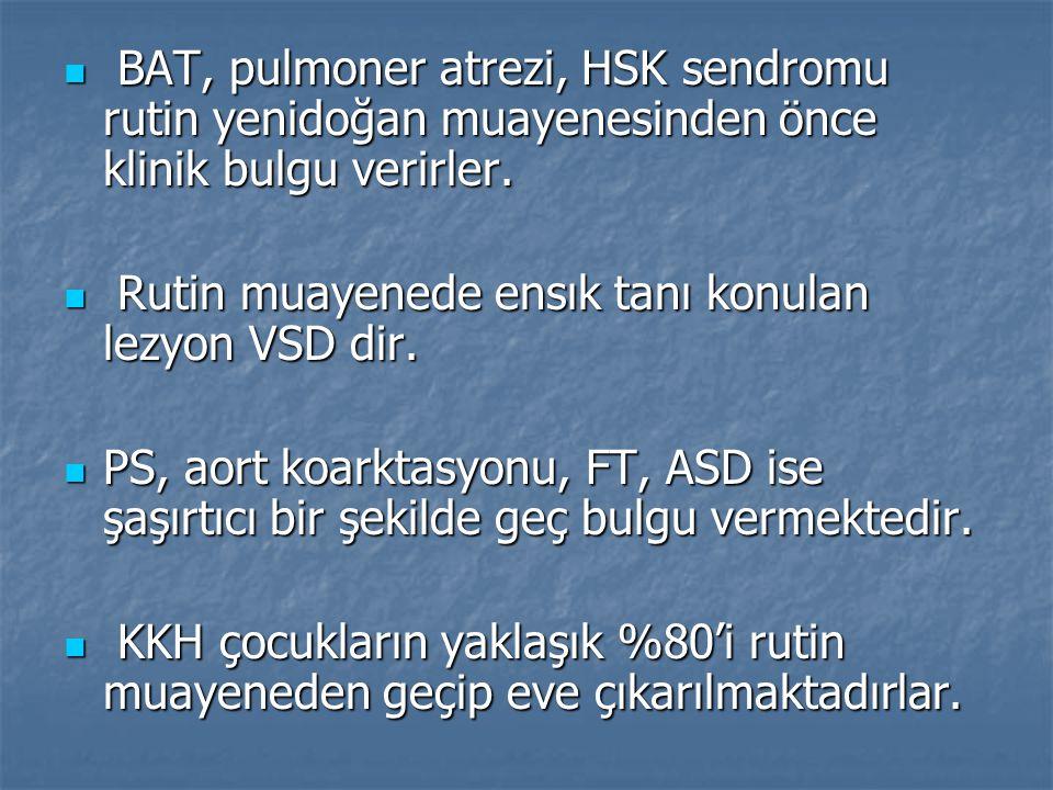 BAT, pulmoner atrezi, HSK sendromu rutin yenidoğan muayenesinden önce klinik bulgu verirler.