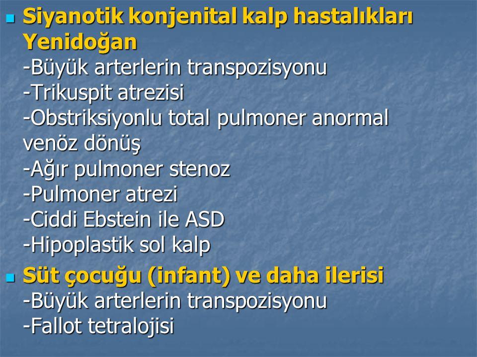 Siyanotik konjenital kalp hastalıkları Yenidoğan -Büyük arterlerin transpozisyonu -Trikuspit atrezisi -Obstriksiyonlu total pulmoner anormal venöz dönüş -Ağır pulmoner stenoz -Pulmoner atrezi -Ciddi Ebstein ile ASD -Hipoplastik sol kalp