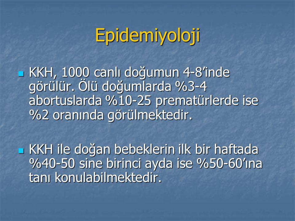 Epidemiyoloji KKH, 1000 canlı doğumun 4-8'inde görülür. Ölü doğumlarda %3-4 abortuslarda %10-25 prematürlerde ise %2 oranında görülmektedir.