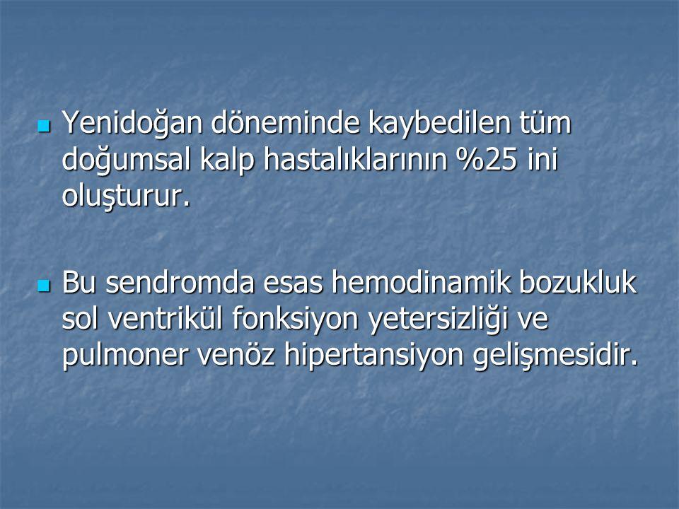 Yenidoğan döneminde kaybedilen tüm doğumsal kalp hastalıklarının %25 ini oluşturur.
