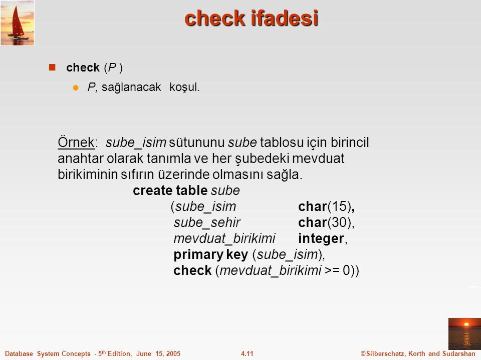 check ifadesi check (P ) P, sağlanacak koşul.