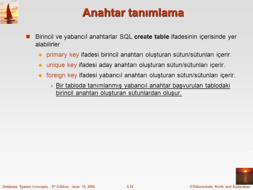 Anahtar tanımlama Birincil ve yabancıl anahtarlar SQL create table ifadesinin içerisinde yer alabilirler.
