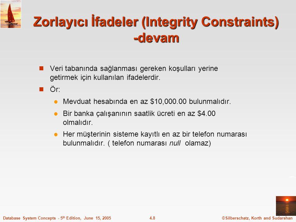 Zorlayıcı İfadeler (Integrity Constraints) -devam