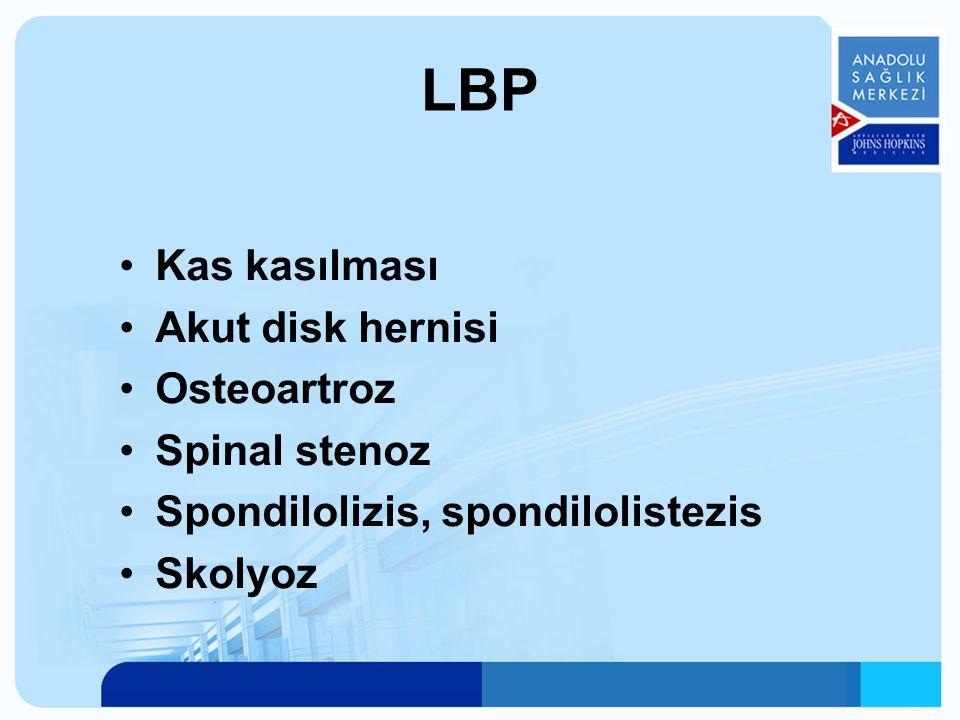 LBP Kas kasılması Akut disk hernisi Osteoartroz Spinal stenoz