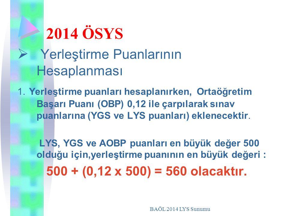 2014 ÖSYS Yerleştirme Puanlarının Hesaplanması