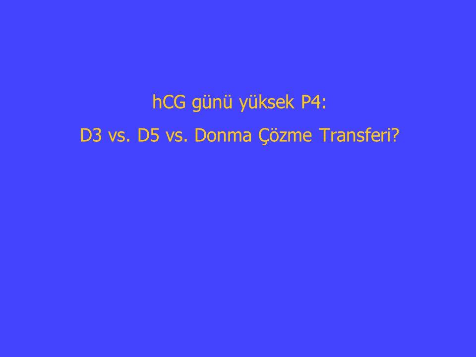 hCG günü yüksek P4: D3 vs. D5 vs. Donma Çözme Transferi