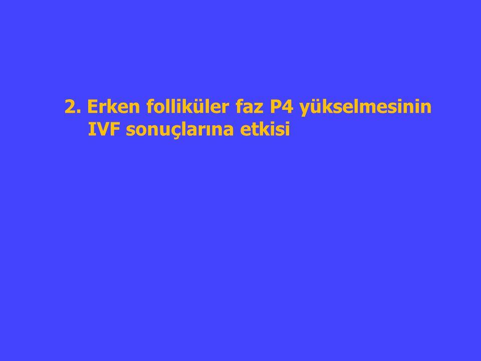 2. Erken folliküler faz P4 yükselmesinin IVF sonuçlarına etkisi