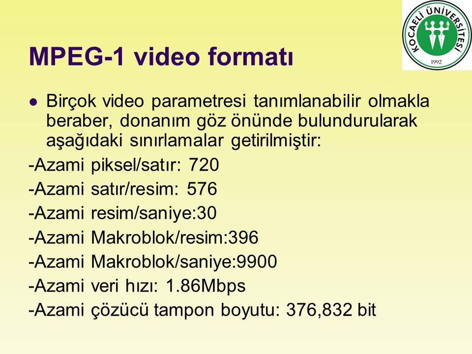 MPEG-1 video formatı Birçok video parametresi tanımlanabilir olmakla beraber, donanım göz önünde bulundurularak aşağıdaki sınırlamalar getirilmiştir: