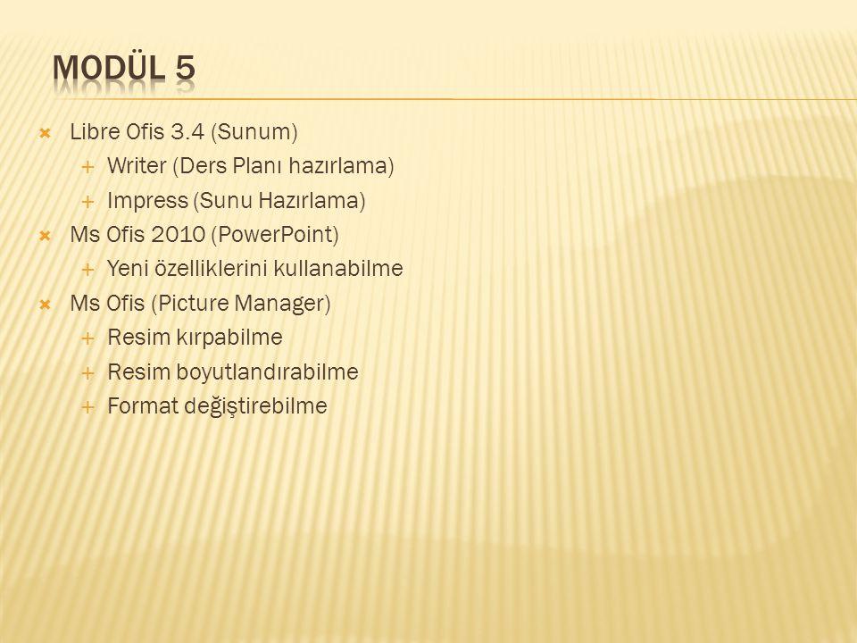 Modül 5 Libre Ofis 3.4 (Sunum) Writer (Ders Planı hazırlama)