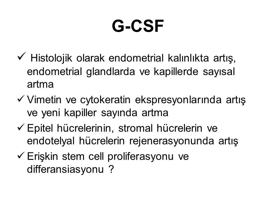 G-CSF Histolojik olarak endometrial kalınlıkta artış, endometrial glandlarda ve kapillerde sayısal artma.