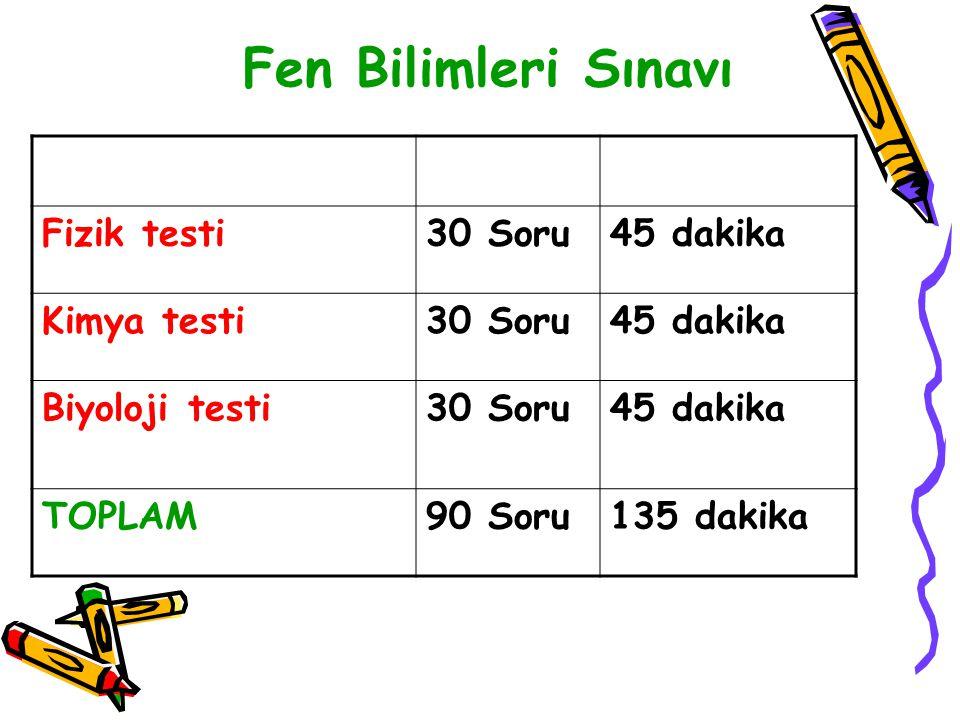 Fen Bilimleri Sınavı Fizik testi 30 Soru 45 dakika Kimya testi