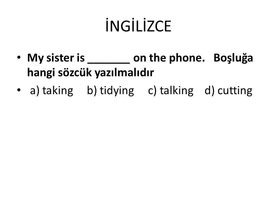 İNGİLİZCE My sister is _______ on the phone. Boşluğa hangi sözcük yazılmalıdır.