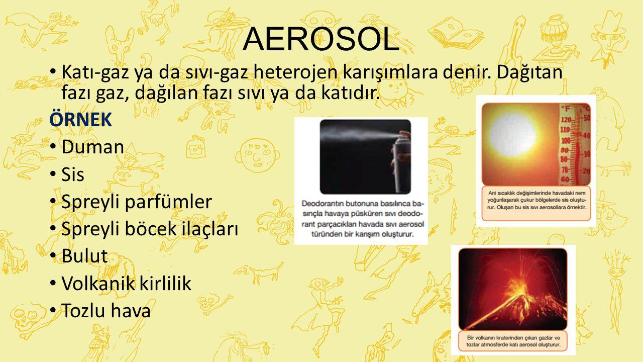 AEROSOL Katı-gaz ya da sıvı-gaz heterojen karışımlara denir. Dağıtan fazı gaz, dağılan fazı sıvı ya da katıdır.