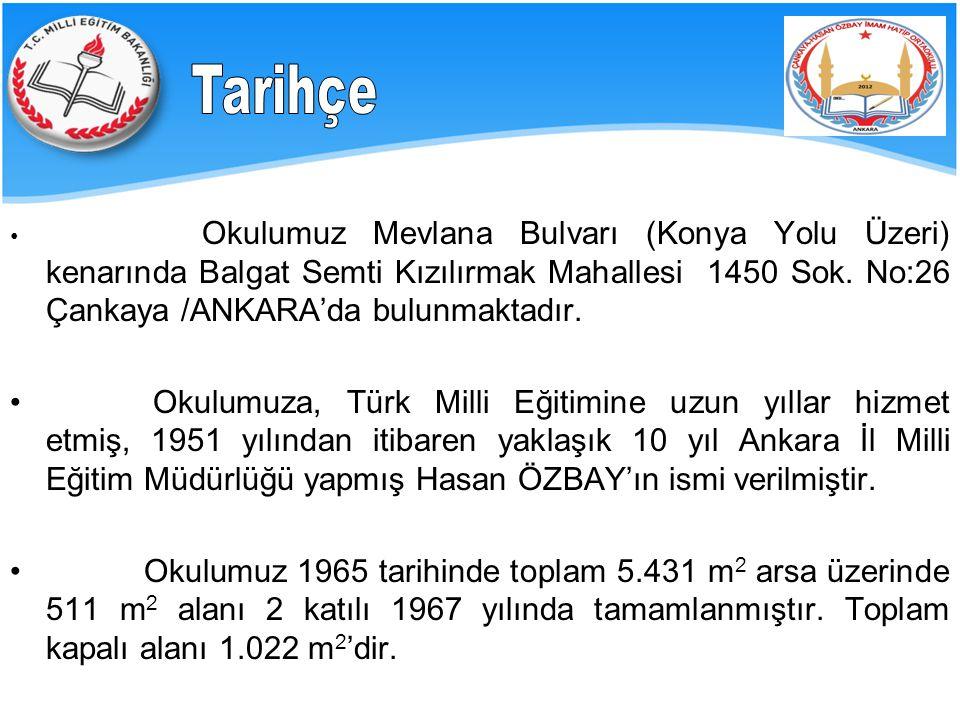 Tarihçe Okulumuz Mevlana Bulvarı (Konya Yolu Üzeri) kenarında Balgat Semti Kızılırmak Mahallesi 1450 Sok. No:26 Çankaya /ANKARA'da bulunmaktadır.