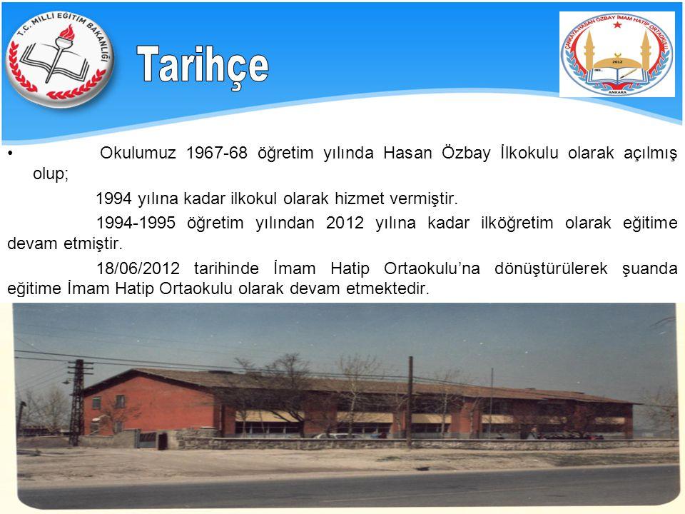 Tarihçe Okulumuz 1967-68 öğretim yılında Hasan Özbay İlkokulu olarak açılmış olup; 1994 yılına kadar ilkokul olarak hizmet vermiştir.